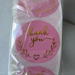 500 Pink & Gold Thank you Stickers/Labels
